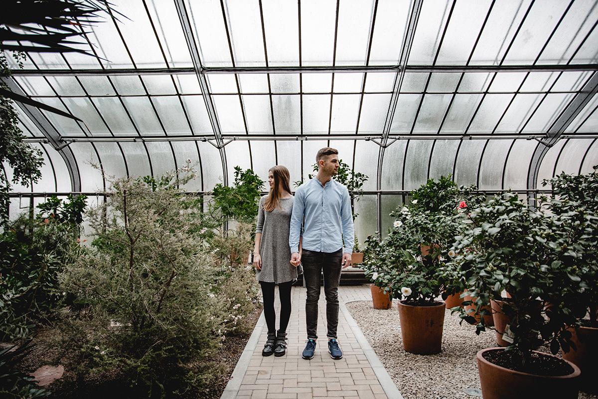 Verlobungsshooting Gewächshaus Karlsruhe